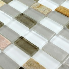 Stone Glass Mosaic Tile Sheets Straight Joint with Marble Tile Backsplash Wall Bathroom SG119
