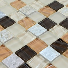 Stone Glass Mosaic Tile Sheets Square Tiles with Marble Tile Backsplash Wall Stickers SG123