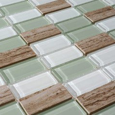 Stone and Glass Mosaic Rectangle Straight Joint Textured Marble Tile Backsplash Wall Stickers SG125