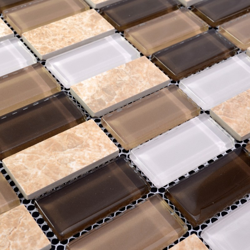 Stone Glass Mosaic Tiles Rectangle Straight Joint With