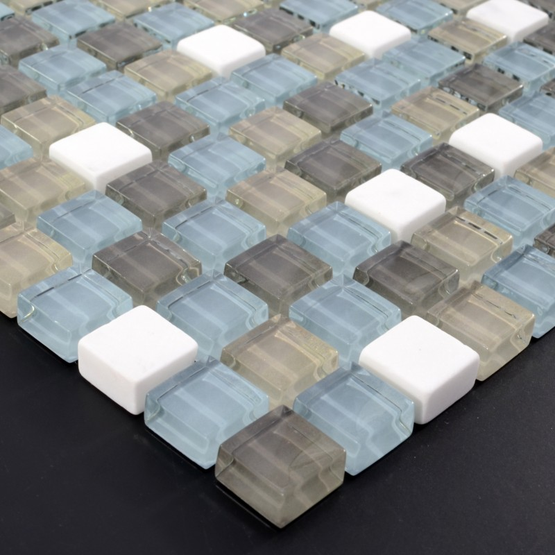 Cream Stone Glass Mosaic Tile Square Tiles With Marble Backsplash Wall Stickers Sg131