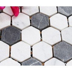 Hexagon Stone Mosaic Tiles Pattern Washroom Wall Black and Cream Marble Kitchen Backsplash Floor Tiles SGS08C-1