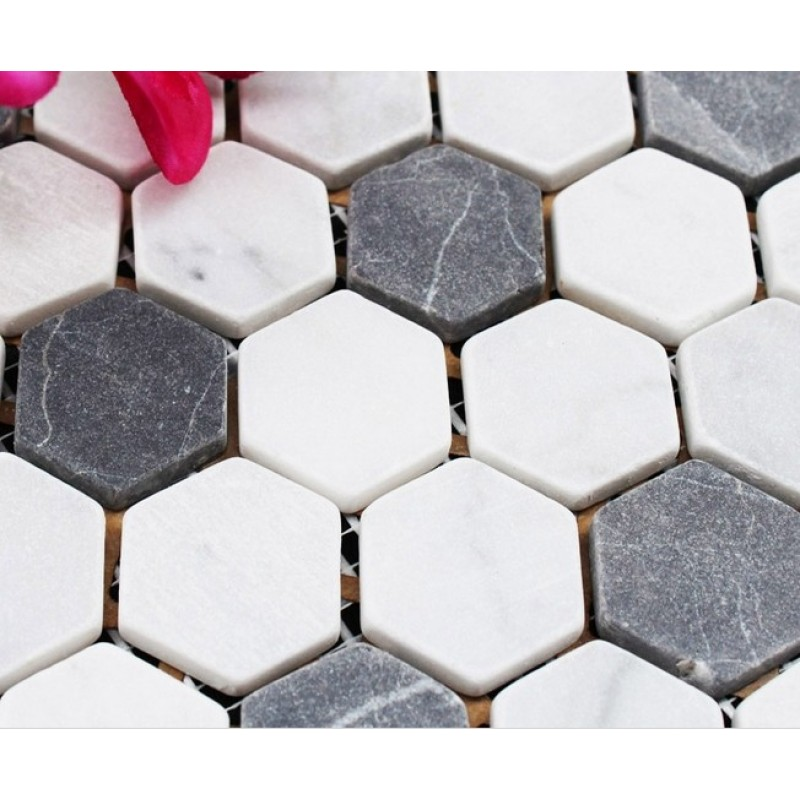 Hexagon Stone Mosaic Tiles Pattern Washroom Wall Black And Cream Marble Kitchen Backsplash Floor Sgs08c 1