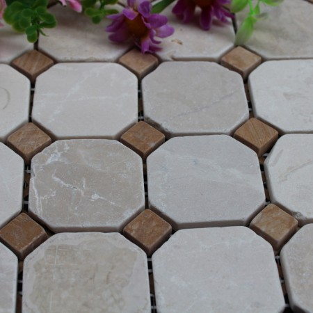 Stone Mosaic Tile Square Brown Patterns Washroom Wall Marble Kitchen Backsplash Floor Tiles SGS08D-02