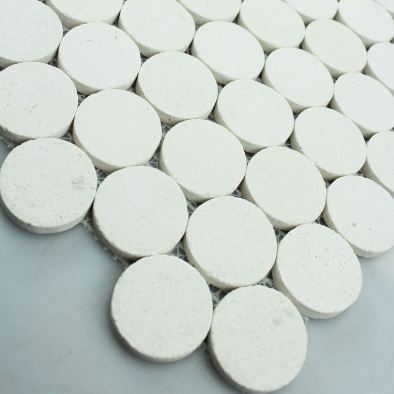 Mosaic Tile Circle Pattern Washroom Wall Penny Round Marble Tile ...