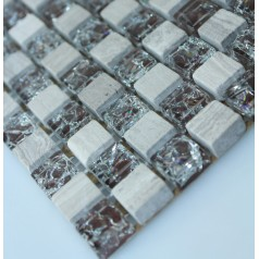 Stone and Glass Mosaic Tile Ice Cracked Glass and Marble Backsplash Wall Tiles Brown Crackle Crystal Mosaics SGS2013-8