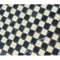 Cream Stone Mosaic Tile Square Black Patternd Washroom Wall Marble Backsplash Kitchen Floor Tiles SGS6673AQP