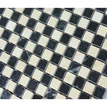 Cream Stone Mosaic Tile Square Black Patternd Washroom Wall Marble Backsplash Kitchen Floor Tiles SGS6673AQP