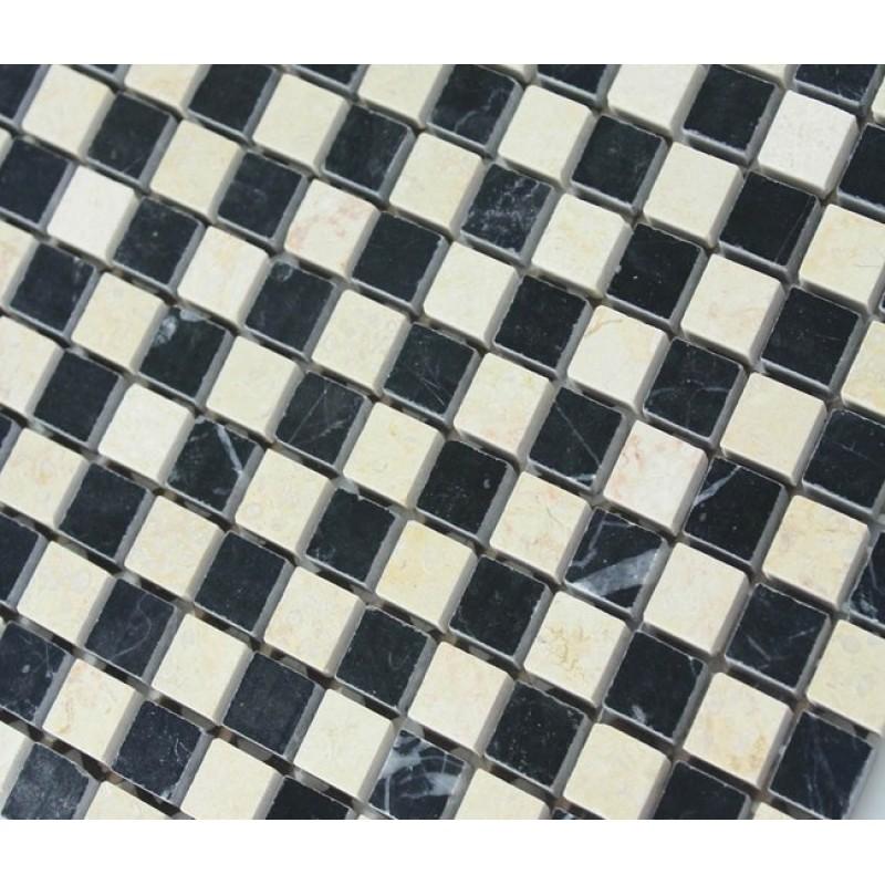 Cream Stone Mosaic Tile Square Black Patternd Washroom Wall Marble