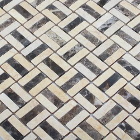 Stone Glass Mosaic Tile Brown and Natural Wood Pattern Wall Marble Tile Backsplash Mosaic Tile SGS68