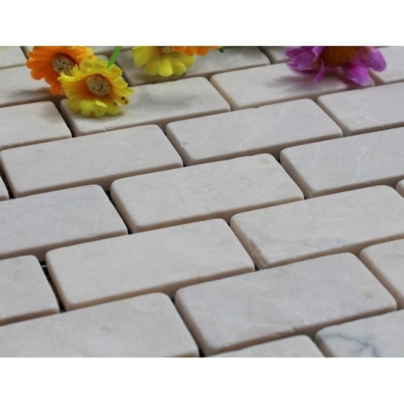 Natural Stone Mosaic Tiles Subway Patterns Bathroom Wall Cream ...