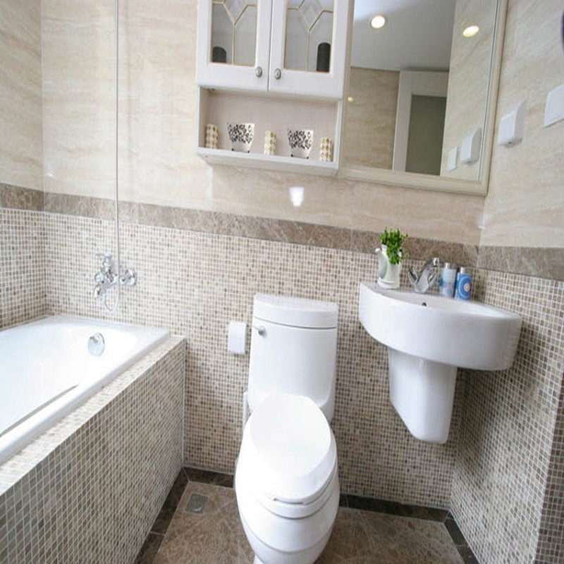 Stone Mosaic Tile Square Grey Hand Painted Pattern Bathroom Wall ...