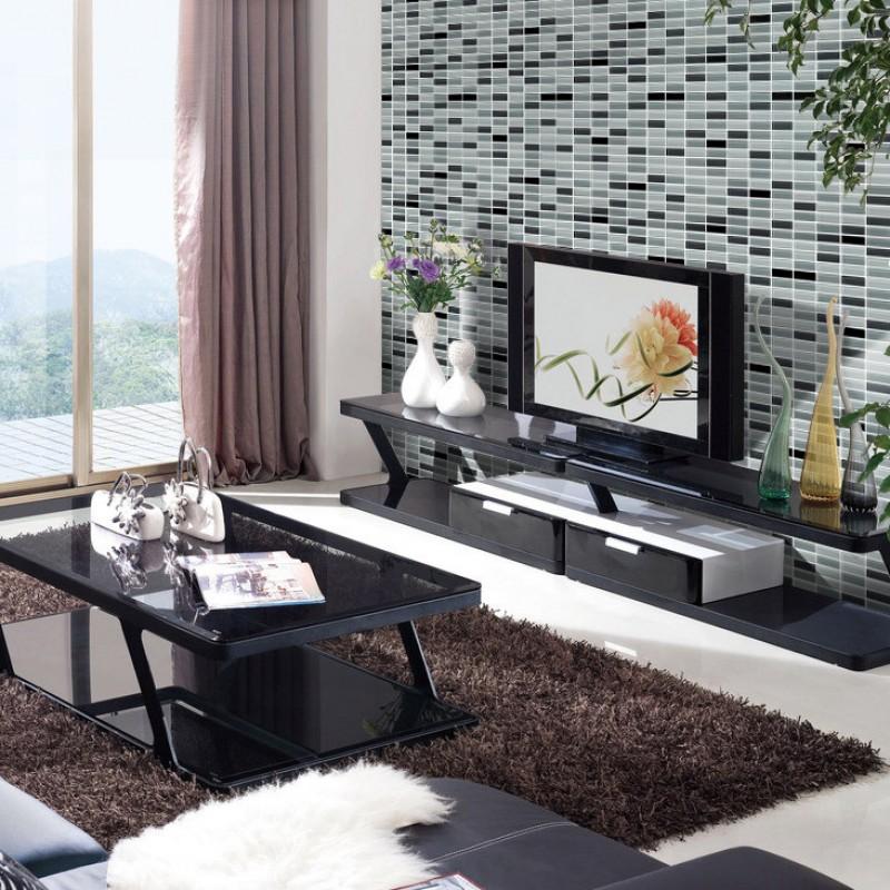 Crystal Glass Tile Brick Strip Kitchen Backsplash Tiles Bathroom Wall Sticker Black Glass Mosaic Tiles 104
