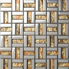 Strip Glass Mosaic Wall Tile Gold Silver Mixed Crystal Metal Coating Tiles Discount Tile Backsplash