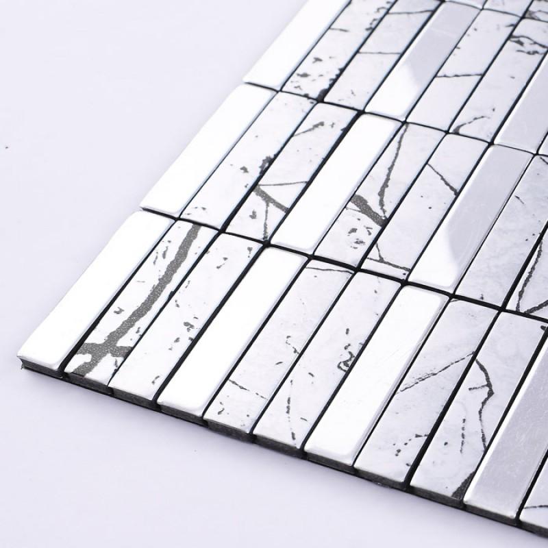 Metallic Mosaic Tile Aluminum Panel Wall Stickers Strip Metal Backsplash Tiles Bathroom Floor Design