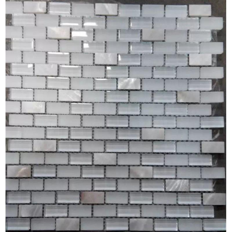 subway glass pearl tile backsplash