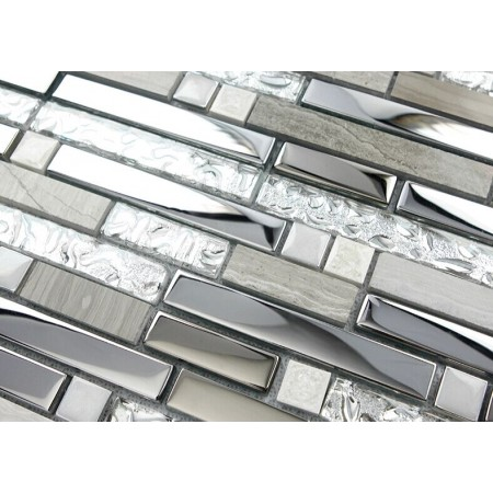Silver Stainless Steel and Glass Tile Textured Marble Stone Mosaic Tiles Wave Patterns SMG9831