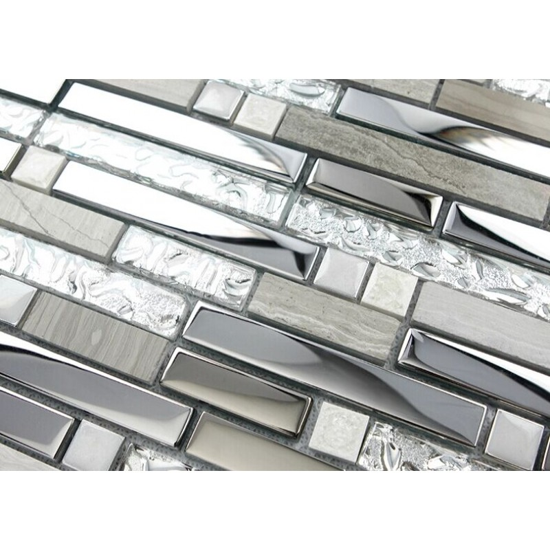 Stainless Steel Pattern Gray Glass Mosaic Tile: Silver Stainless Steel And Glass Tile Textured Marble
