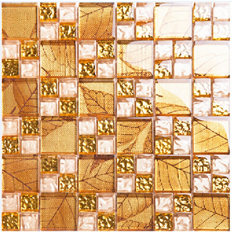 Gold Hand Painted Glass Tile Crystal Mirror Tile Wall