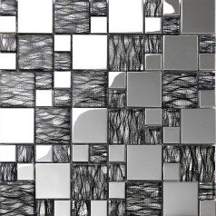 black art hand painted design glass mosaic tile silver metal coating glass tile backsplashes KQYT124