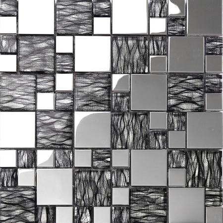 black art hand painted design glass mosaic tile silver metal coating glass tile backsplashes KQYT124