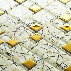 white crystal glass mosaic tile hand painted gold metal coating wall backsplashes SBLT106