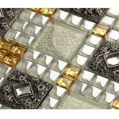 Vitreous Mosaic Tile Diamond Crystal Glass Backsplash Kitchen Design Art Bathroom Wall Tiles