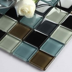 Vitreous Mosaic Tile Crystal Glass Backsplash Washroom Design Bathroom Wall Floor Tiles