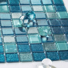 Square Glass Tile Bathroom Powder Mosaic Patterns Washroom Wall Backsplash Tiles Blue BGP127