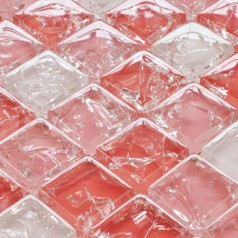 Mosaic Tile Crystal Glass Backsplash Washroom Design Red Ice Crack Bathroom Wall Floor Tiles