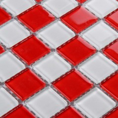 Glass Mosaic Tile Sheet Kitchen Backsplash Red and White Crystal Mosaic Bathroom Wall Tiles