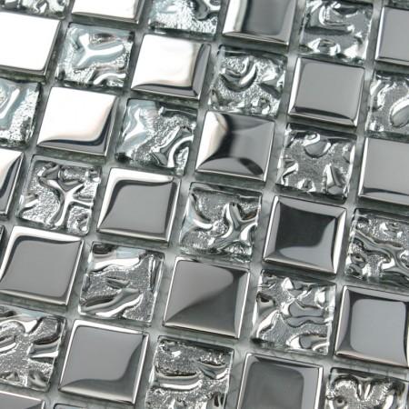 Crystal Glass Tiles Sheet Square Mosaic Tiling Bathroom Wall Tiles Silver Metal Coating Tile Ktchen Backsplash 8123