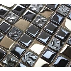 Blue Mosaic Tile Crystal Glass Backsplash Washroom Design Plated Dining-rooom Wall Tiles 8171