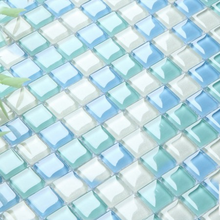 Crystal Glass Tile Sheets for Shower Wall Tiles Designs Sea Blue Glass Mosaic Tiles Kitchen Backsplash B049