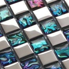 Clear Crystal Mosaic Sheet Silver Plated Glass Tile Backsplash Multi-Colored Bathroom Wall Tiles