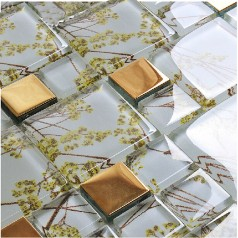 Plated Glass Mosaic Tile Gold Crystal Glass Tile Backsplash Bathroom Designs Kitchen Wall Tiles F206