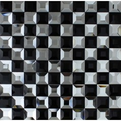 Black and Silver Glass Mosaic Tile Crystal Backsplash 3D Pyramid Pattern Bathroom Wall Tiles