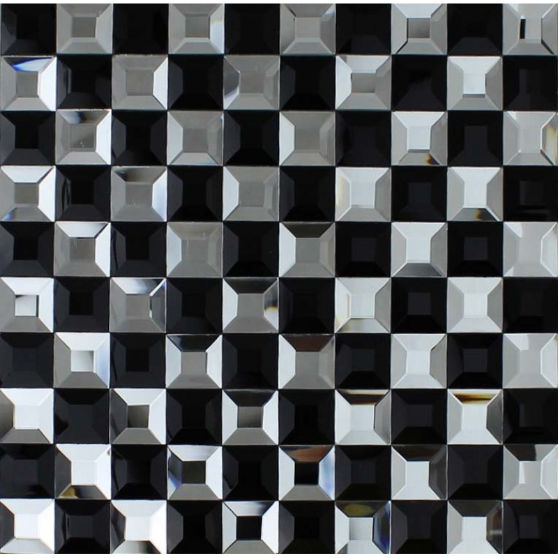 Black And Silver Glass Mosaic Tile Crystal Backsplash 3D Pyramid Pattern  Bathroom Wall Tiles ...