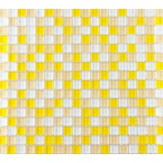 "Yellow and White Glass Mosaic Glossy Tile Backsplash Wall Decor 3/5"" x 3/5"" Squares Bathroom Tiles"