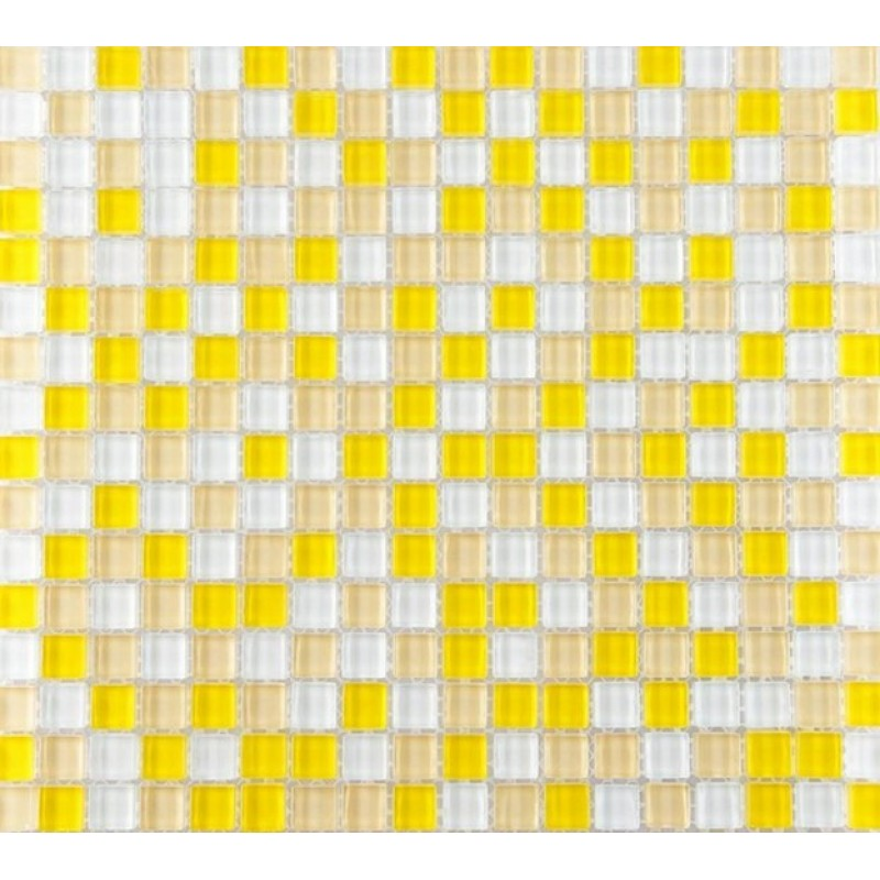Yellow And White Glass Mosaic Glossy Tile Backsplash Wall Decor 3/5