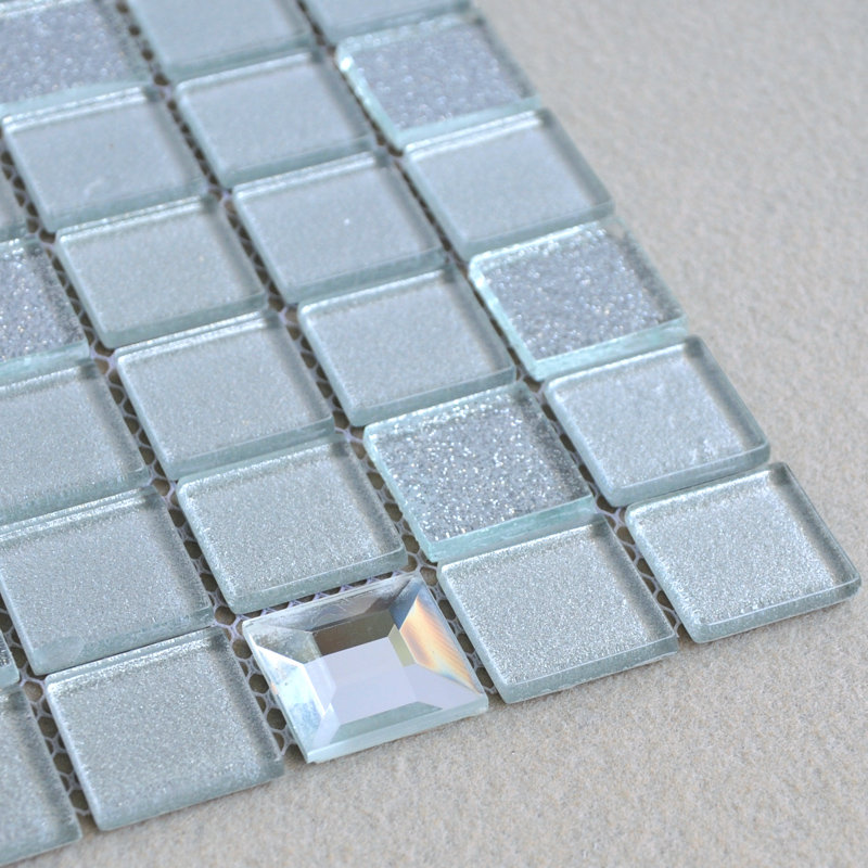 Grey Glass Mosaic Tiles Edging Diamond Backsplash Sheet 10100