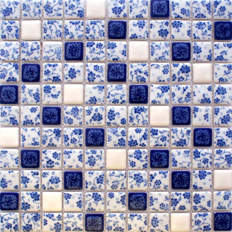 Blue And White Tile Glossy Porcelain Mosaic Bathroom Tiles