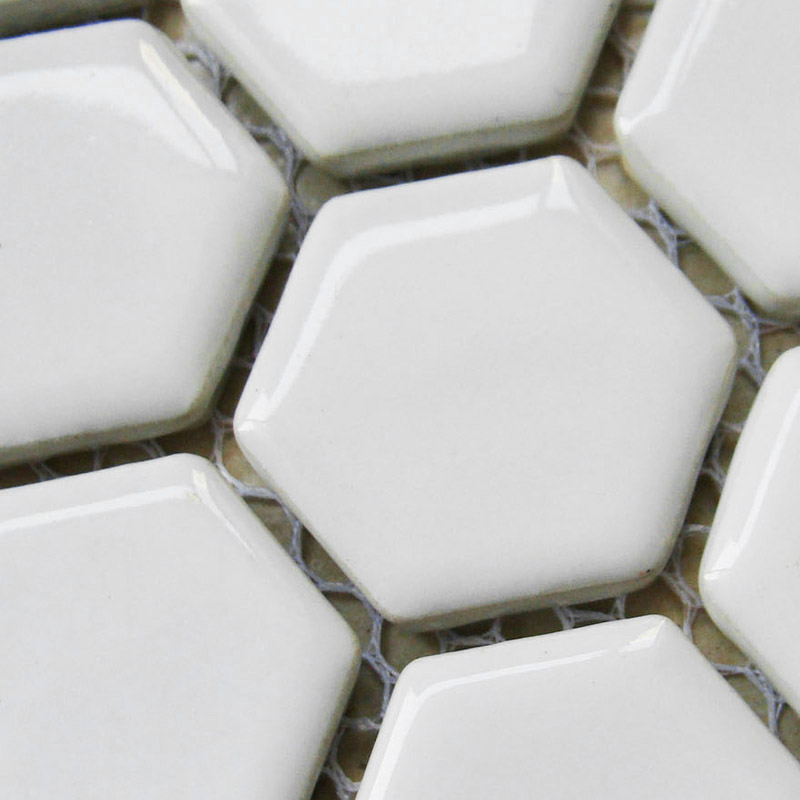 White Ceramic Floor Tiles Bathroom : Hexagon porcelain floor tiles white shiny mosaic glazed