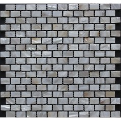 "White Mother of Pearl Subway Tile Backsplash 3/5"" x 1"" Rectangle Freshwater Shell Mosaic Tiles"