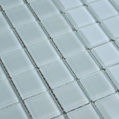 White Crystal Glass Mosaic Tile Design Kitchen Backsplash Bathroom Wall Floor Stickers