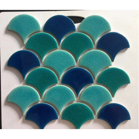 fish scales glazed porcelain tile bathroom backsplash mosaic wall tiles ZT001