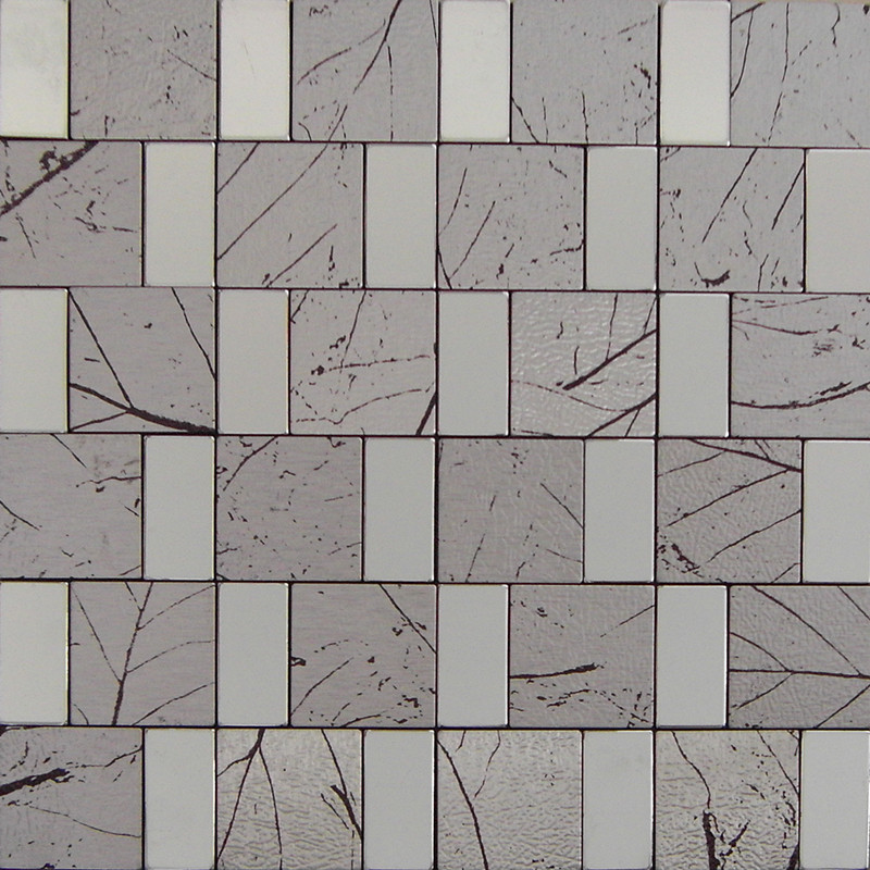 Peel and Stick Mosaic Tile Gray Rectangle Aluminum Adhsive Tile ...