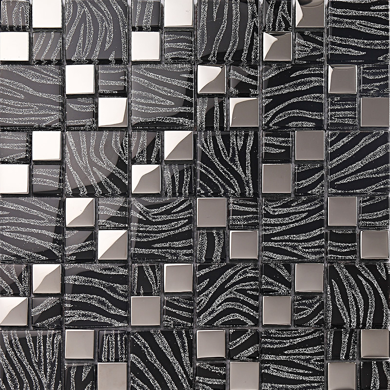 silver with black crystal glass mosaic tiles plated glass kitchen
