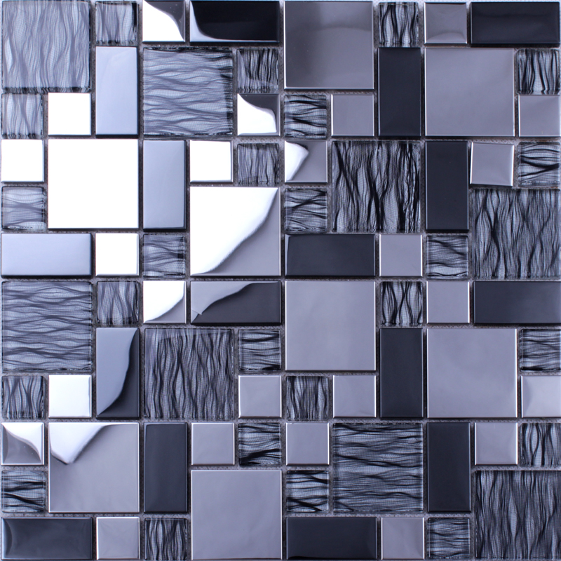 silver 304 stainless steel metal crystal glass tiles sheet