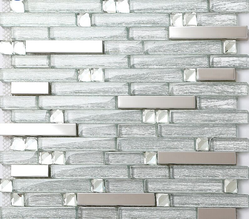 Silver Stainless Steel Gl Mosaic